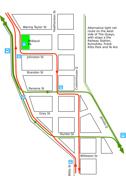 Light rail and buses in the CBD