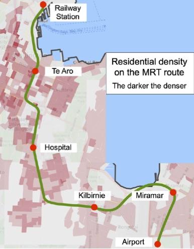Residential density on the MRT route