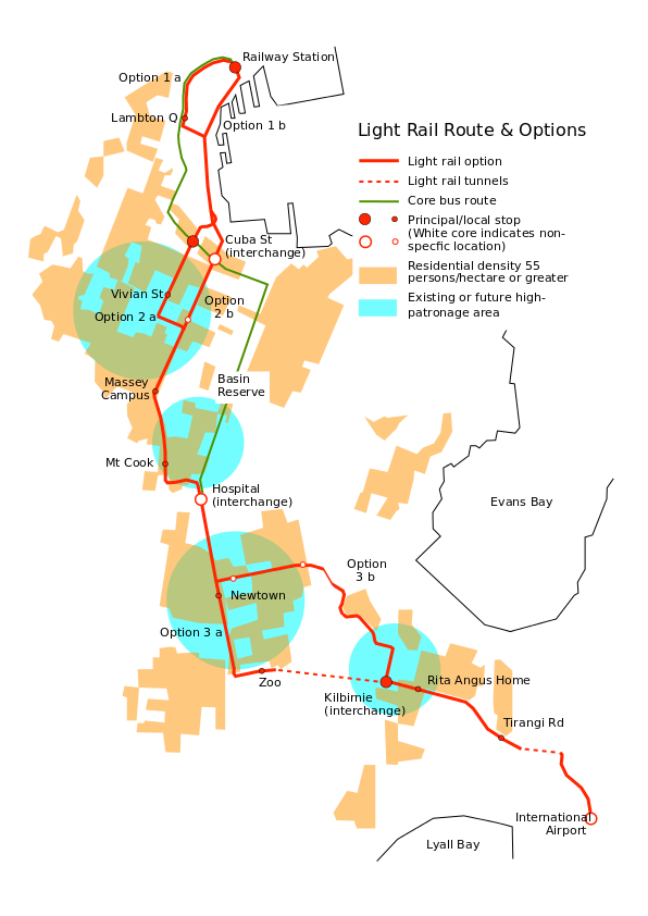 Light rail route and options